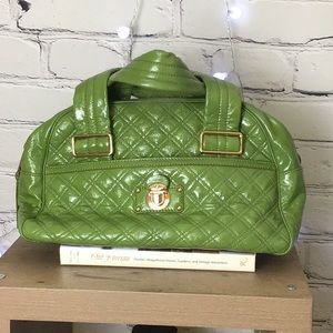 Marc Jacobs Green Quilted Pleather Bowler Bag